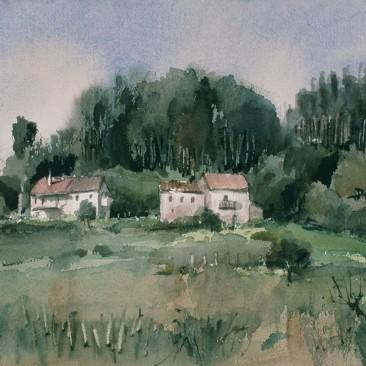 Casas junto al bosque. Limpias (Cantabria)